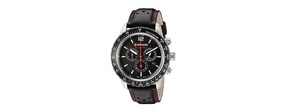 wenger men's 'roadster' swiss quartz stainless steel and leather casual watch