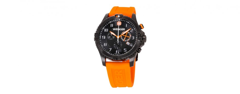 wenger squadron rescue black dial silicone strap men's watch 77058