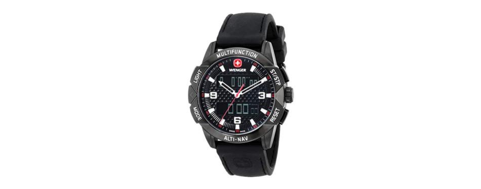 wenger unisex 70440 analog-digital display swiss quartz black watch