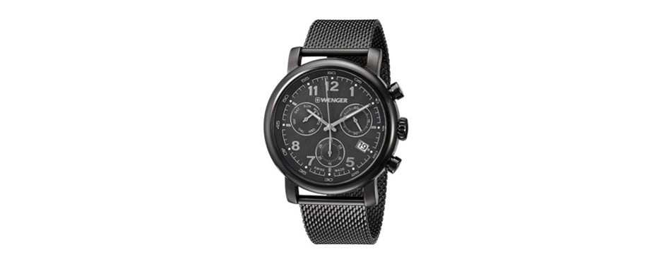 wenger urban classic black dial stainless steel men's watch 011043108