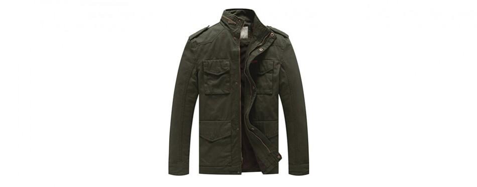 wenven men's stand collar cotton field jacket