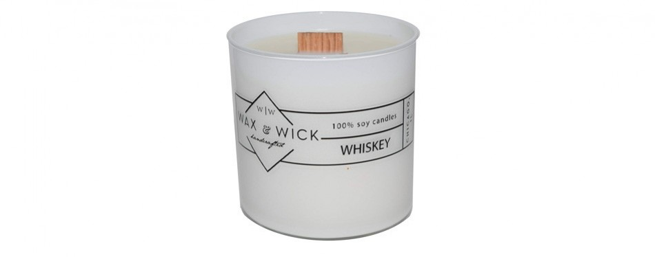 whisky scented soy candle