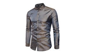 yimanie men's regular long sleeve satin shirt