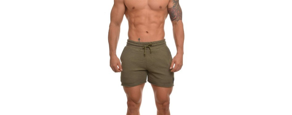 youngla french terry solid bodybuilding men's yoga shorts