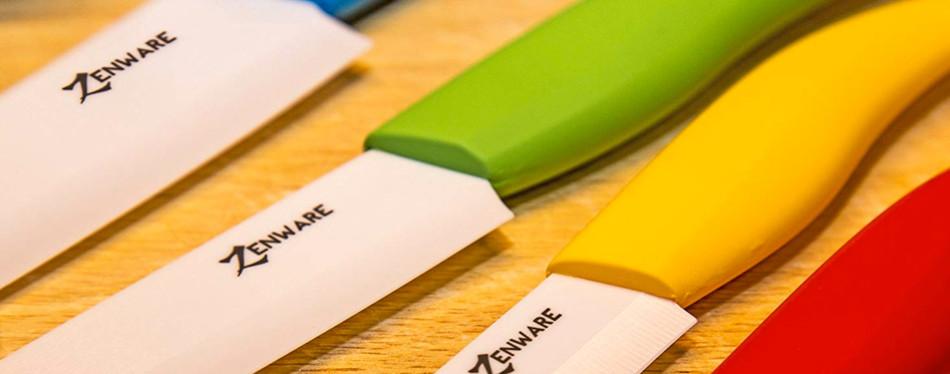 zenware 9 piece multi-color ceramic cutlery kitchen knives