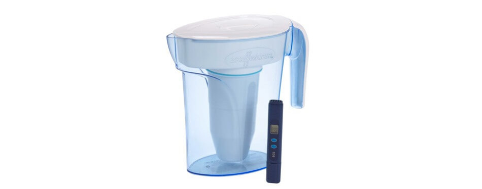 zerowater zp-006-4 6 cup pitcher with free water quality meter