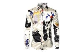 zeroyaa men's luxury printed silk like satin button down dress shirt