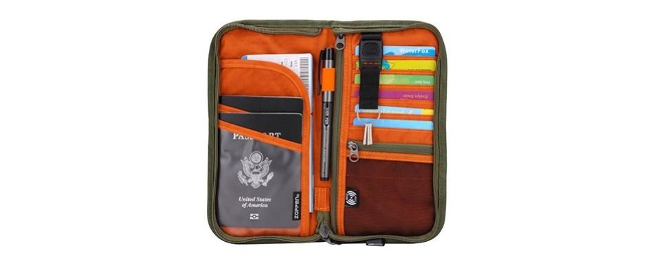zoppen rfid travel wallet passport wallet & documents organizer